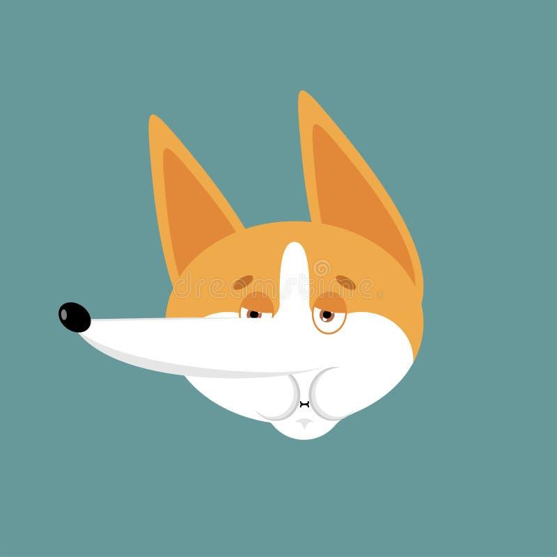 Emoji de nausée de corgi Avatar en difficulté d'émotions de chien Défectuosité d'animal familier Illustration de vecteur illustration stock