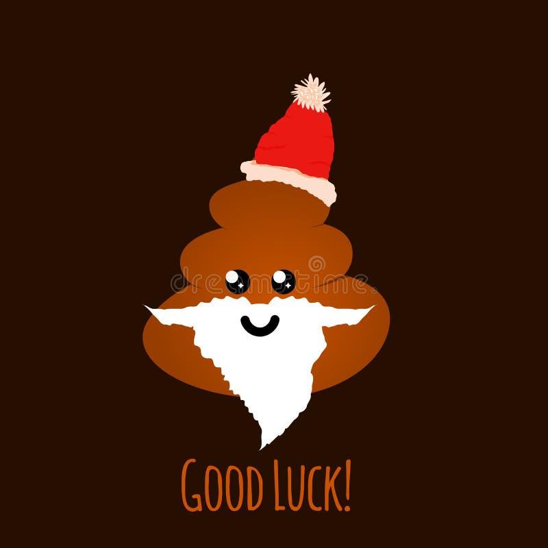 Emoji de santa cagó con la cara sonriente, ejemplo del vector Saludo para la Navidad - buena suerte ilustración del vector