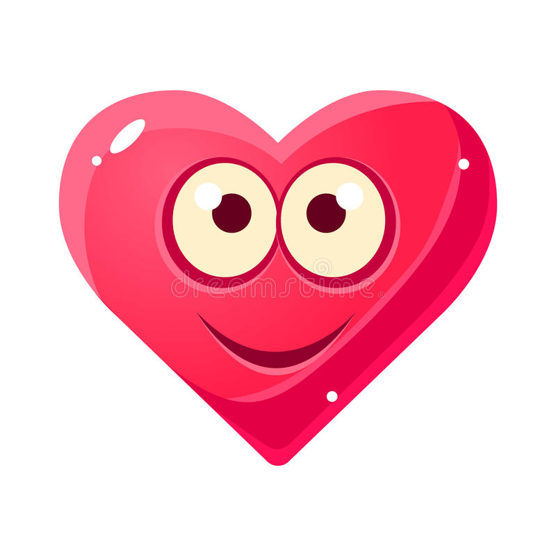 Emoji de sourire satisfait, icône d'isolement par expression du visage émotive rose de coeur avec le personnage de dessin animé d illustration libre de droits
