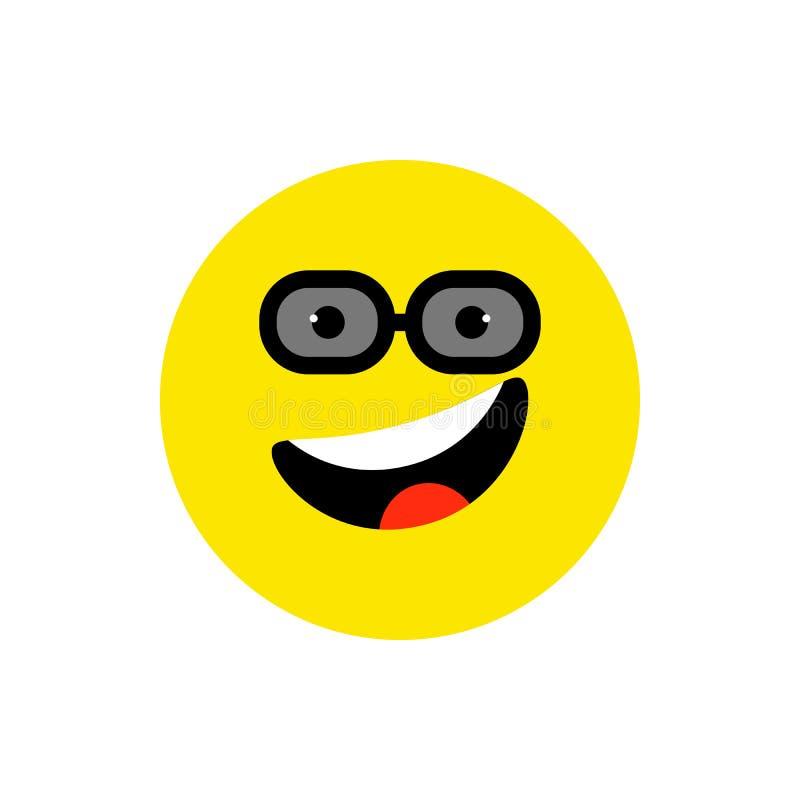 Emoji de sourire de visage heureux avec la bouche et les lunettes de soleil ouvertes Tyle plat de sourire dr?le Symbole mignon d' illustration libre de droits