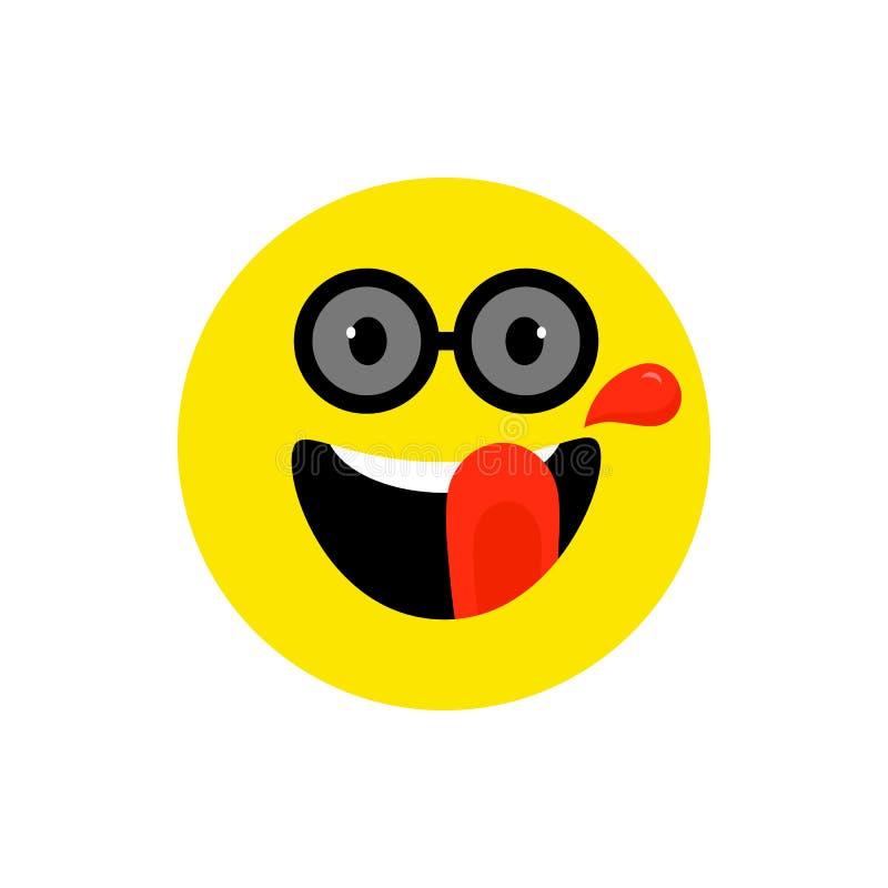 Emoji de sourire de visage heureux avec la bouche et les lunettes de soleil ouvertes Tyle plat de sourire dr?le Symbole mignon d' illustration de vecteur