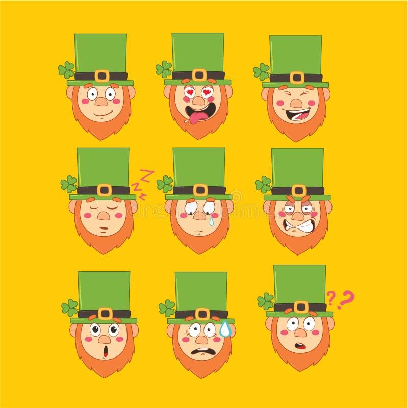 Emoji de St Patrick, icônes de sourire de lutin réglées illustration libre de droits