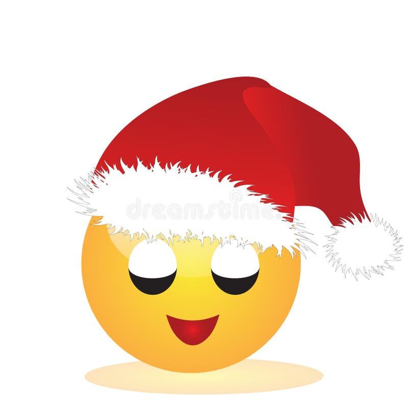 Emoji de una cara de Santa Claus stock de ilustración