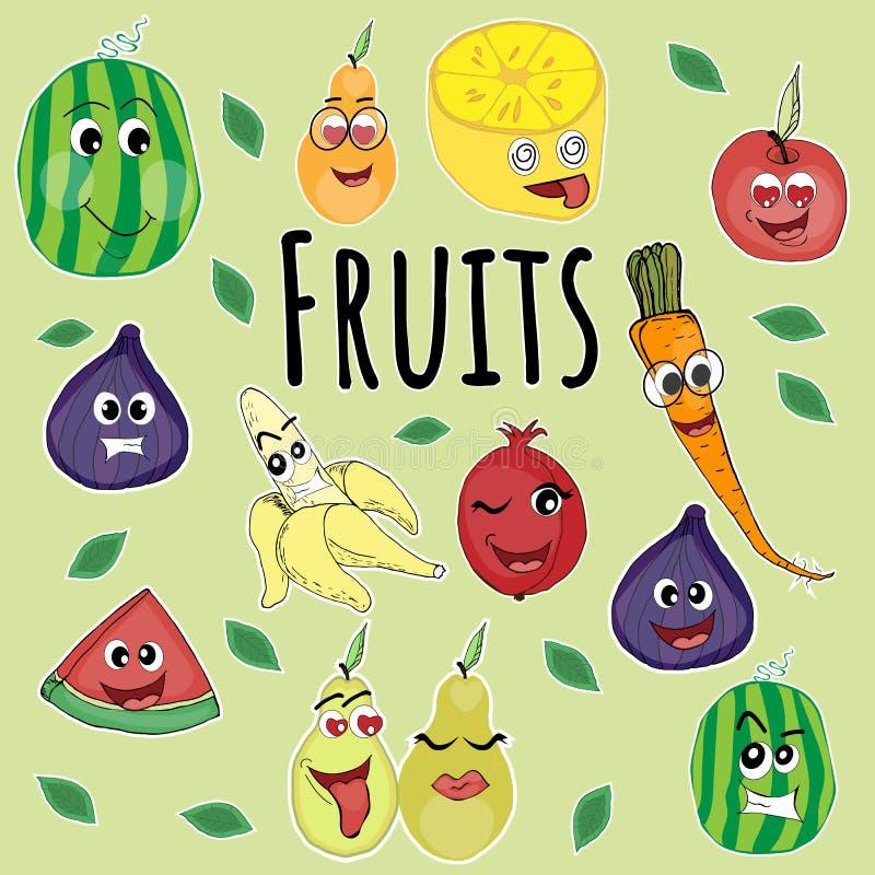 Emoji in de vorm van fruit, royalty-vrije illustratie