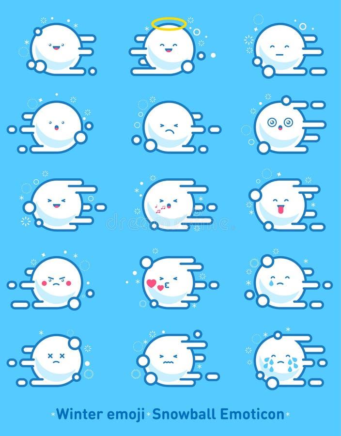 Emoji del invierno Emoticon de la bola de nieve Bolas de nieve del vuelo con los copos de nieve emociones stock de ilustración