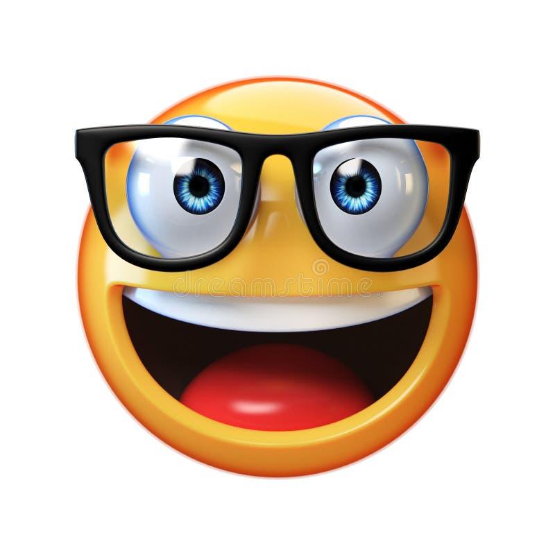 Emoji del nerd isolato su fondo bianco, emoticon con i vetri illustrazione di stock