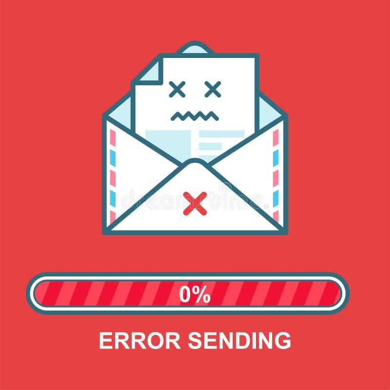 Emoji del sobre Diseño de carácter bebido correo electrónico plano del ejemplo con la barra de progreso Proceso del envío del cor libre illustration