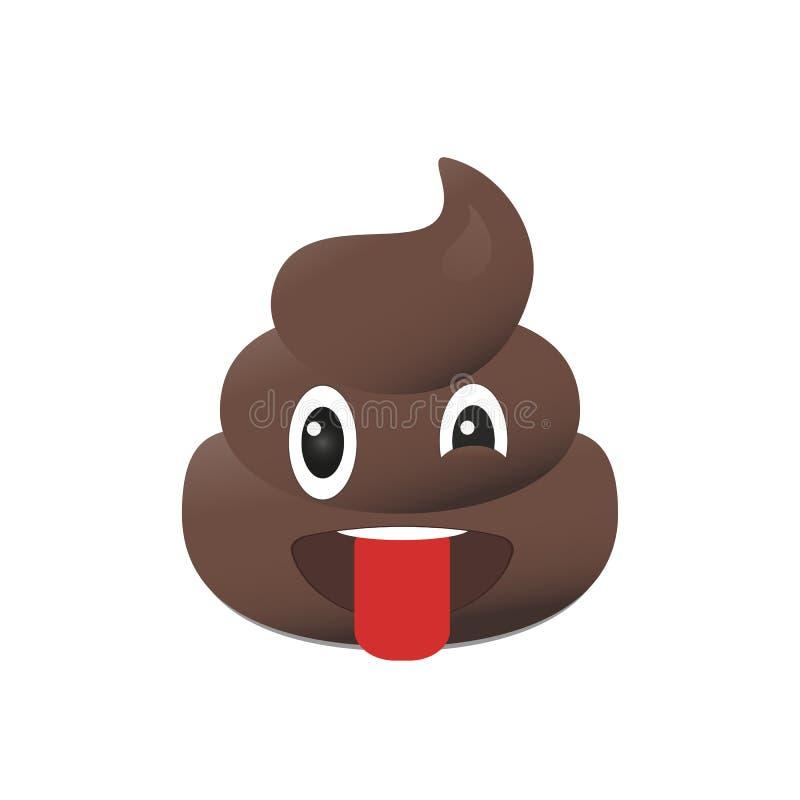 Emoji della merda Emoticon di cacca Fronte della poppa isolato illustrazione vettoriale