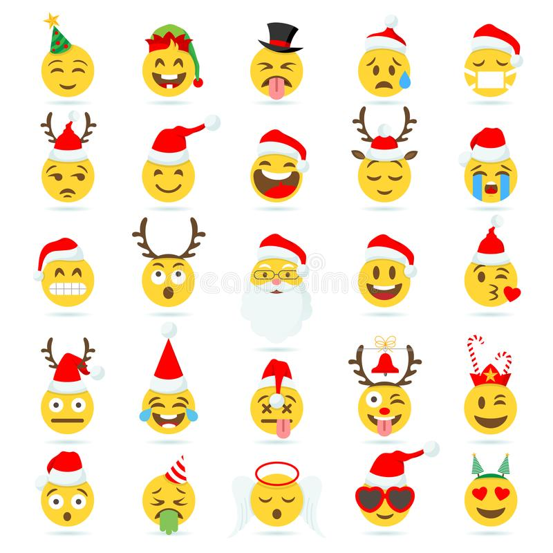 Emoji di vettore dell'emoticon di Natale illustrazione di stock