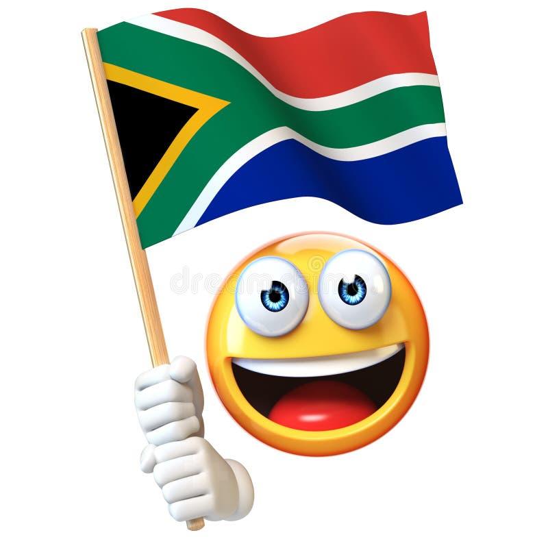 Emoji die Zuidafrikaanse vlag houden, emoticon golvende nationale vlag van het 3d teruggeven van Zuid-Afrika royalty-vrije illustratie