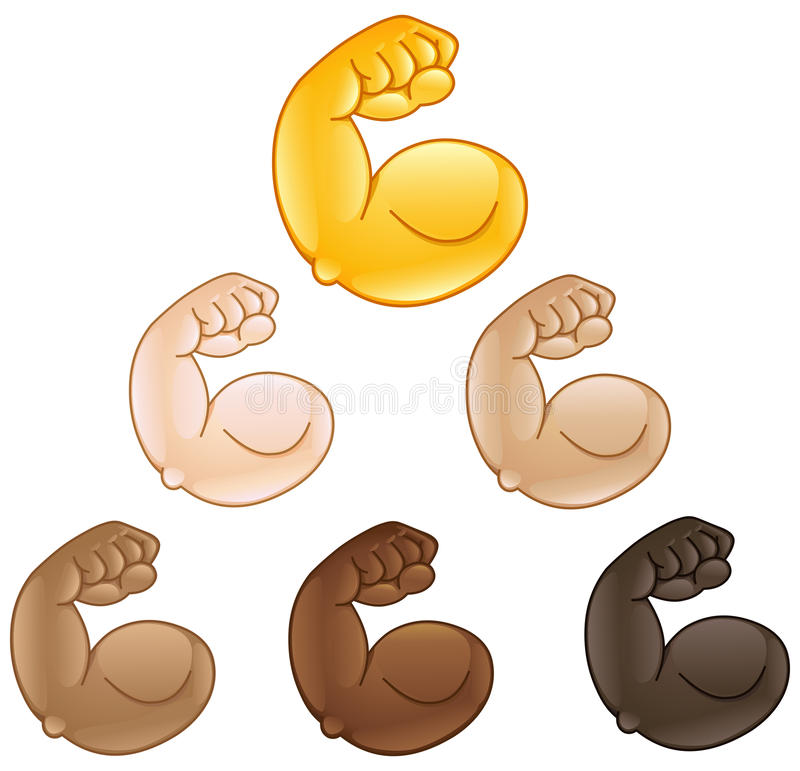 Emoji doblado de la mano del bíceps ilustración del vector