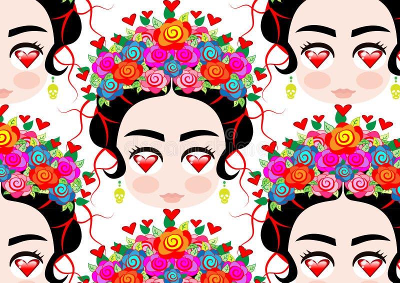 Emoji dziecka Meksykańska kobieta z koroną kolorowi kwiaty, typowa Meksykańska fryzura, mała dziewczynka z oczami serce royalty ilustracja