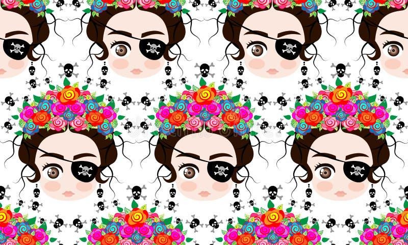 Emoji dziecka Meksykańska kobieta z koroną kolorowi kwiaty, typowa Meksykańska fryzura, mała dziewczynka pirata ikona Emoji, bezs royalty ilustracja