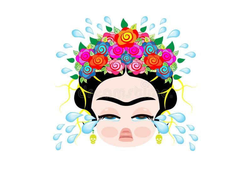 Emoji dziecko Frida Kahlo cray z koroną i kolorowi kwiaty, dziewczynka płacze, wektor odizolowywający royalty ilustracja
