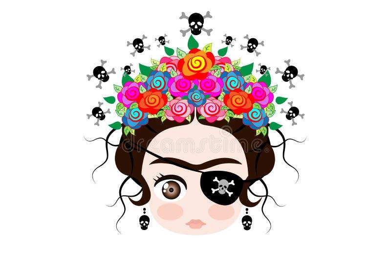 Emoji dziecko Frida Kahlo z koroną kolorowi kwiaty i, pirat ikona Emoji, wektor odizolowywający royalty ilustracja