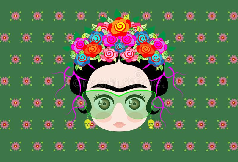 Emoji dziecko Frida Kahlo z koroną kolorowi kwiaty i szkła royalty ilustracja