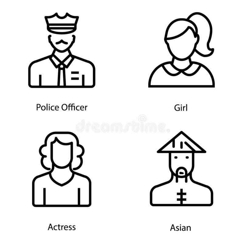 Emoji e os Avatars alinham ícones embalam ilustração stock