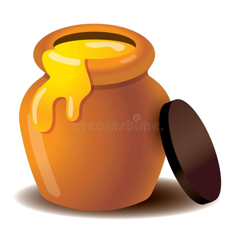 Emoji ed icona organici del vaso del miele Miele che perde dal barattolo - vettore isolato royalty illustrazione gratis