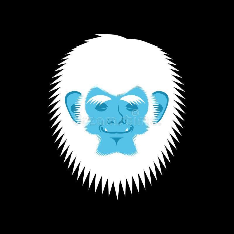 Emoji el dormir del yeti Cara dormida de la emoción de Bigfoot Sno abominable ilustración del vector