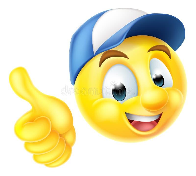 Emoji-Emoticon-Arbeitskraft, die Daumen aufgibt lizenzfreie abbildung