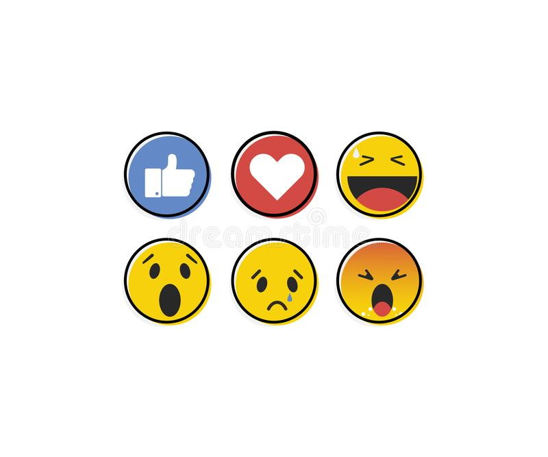 Emoji emoticon in flat style, set icons, social media collection - vector. Illustration stock illustration