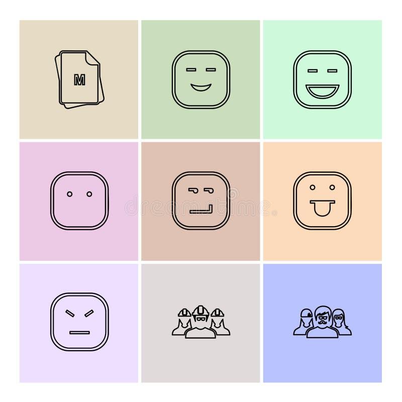 Emoji , emoticon , smiley ,eps icons set vector. Emoji , emoticon , smiley , happy , sad, cry , laugh , raomntic, love , angry , confused , handsome , nervous stock illustration