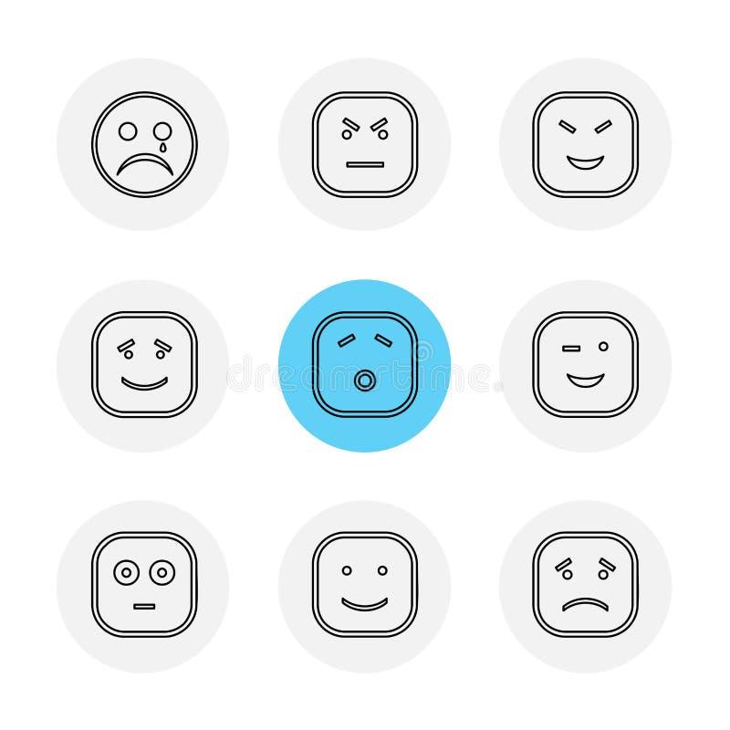 Emoji , emoticon , smiley ,eps icons set vector. Emoji , emoticon , smiley , happy , sad, cry , laugh , raomntic, love , angry , confused , handsome , nervous royalty free illustration