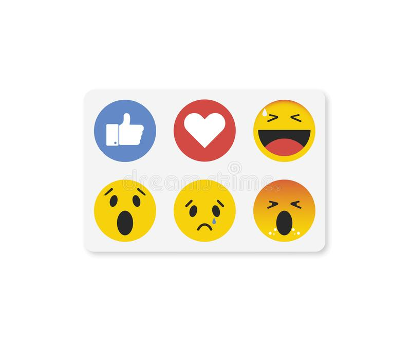 Emoji emoticon in vlakke stijl, vastgestelde pictogrammen, sociale media inzameling - vector royalty-vrije illustratie