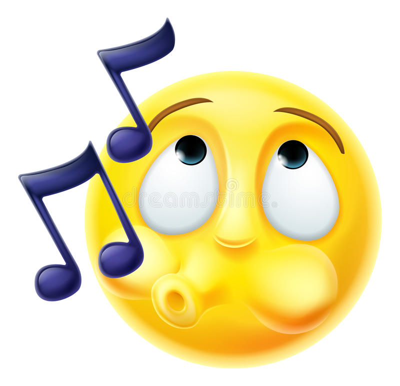 Emoji Emoticon Whistling Tune Happily. A cartoon emoji emoticon character whistling a tune happily stock illustration