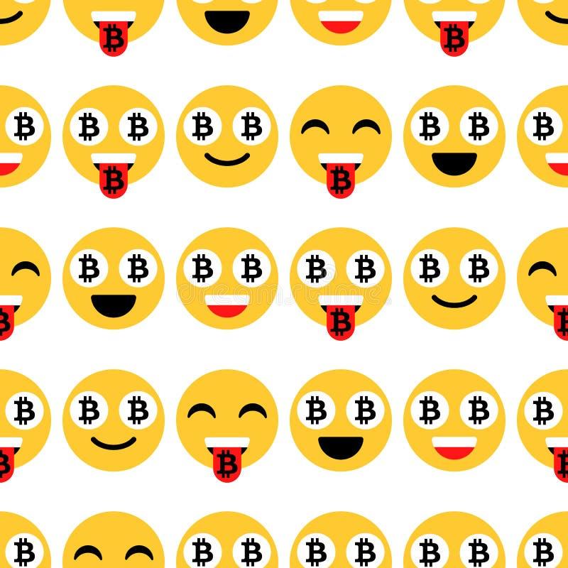 Emoji, emoticons ή χαμόγελο Bitcoin Συναισθηματικά εικονίδια και σημάδια, άνευ ραφής σχέδιο διάνυσμα απεικόνιση αποθεμάτων