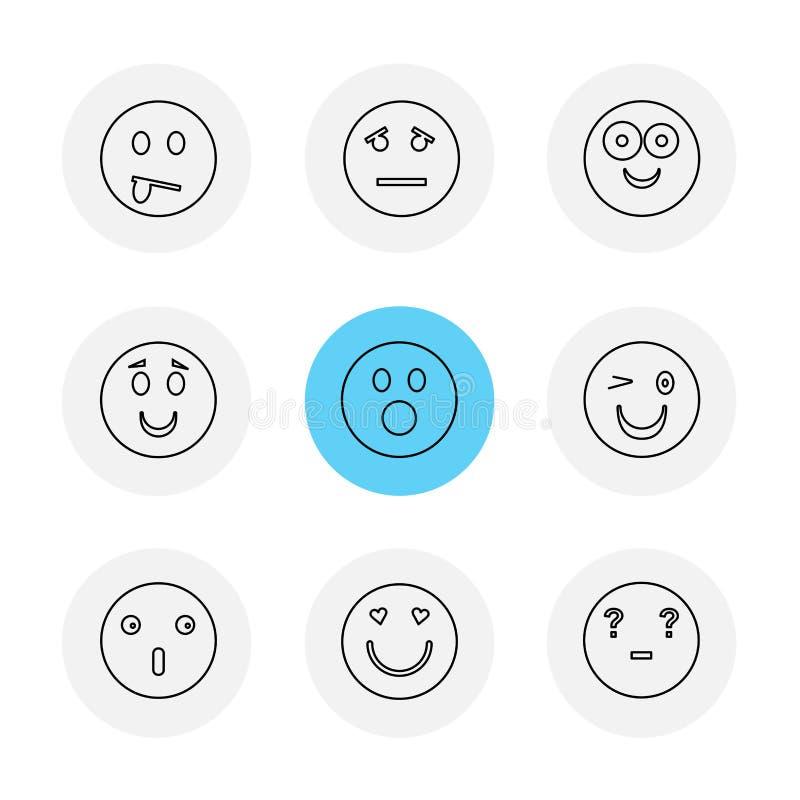 Emoji, Emoticons, eomtions, smiley, ENV-Ikonen stellte Vektor ein lizenzfreie abbildung