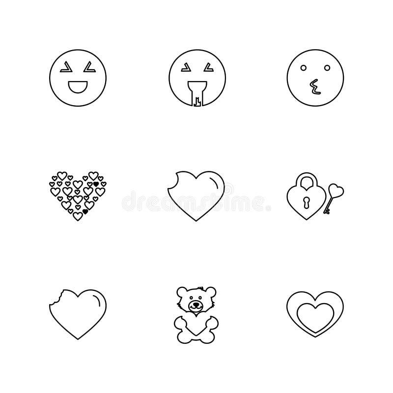 Emoji, Emoticons, eomtions, smiley, ENV-Ikonen stellte Vektor ein stock abbildung