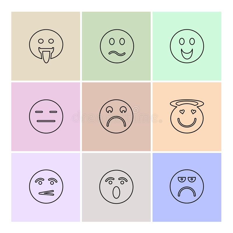 Emoji , emoticons , eomtions , smileys , eps icons set vector. Emoji , emoticons , eomtions , smileys , sad , happy, cry , laugh , love , angry, annoying vector illustration