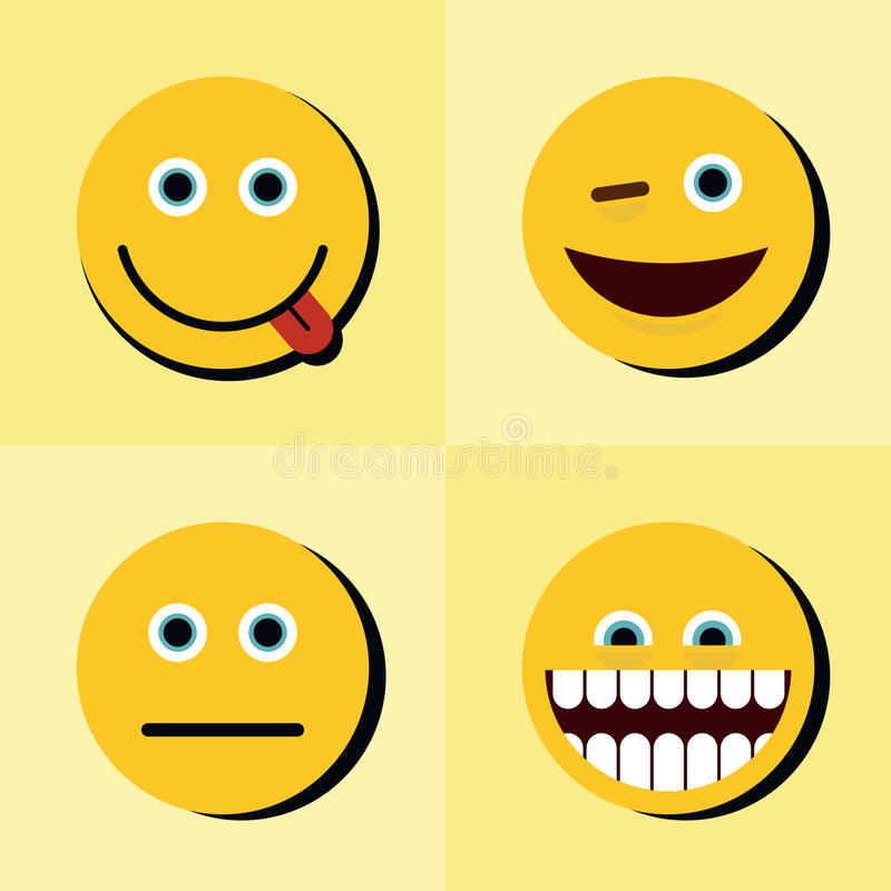 Emoji, emoticons icons on yellow background with black shadow royalty free illustration