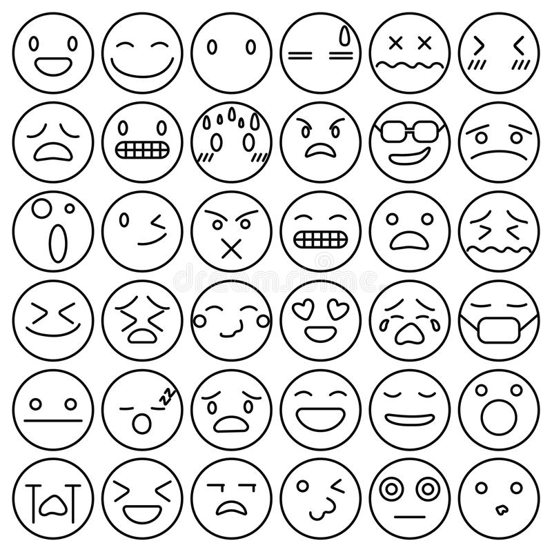 Emoji emoticons set face expression feelings collection vector stock illustration