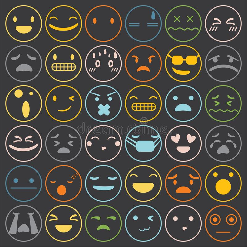 Emoji emoticons set face expression feelings collection vector vector illustration