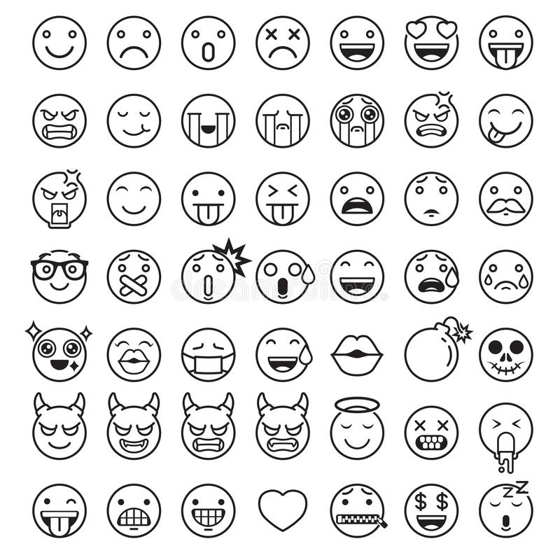 Emoji emoticons symbols icons set. Vector Illustrations vector illustration