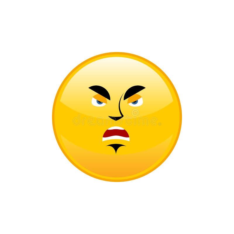 Emoji enojado aisló Emoción amarilla agresiva del círculo aislada ilustración del vector
