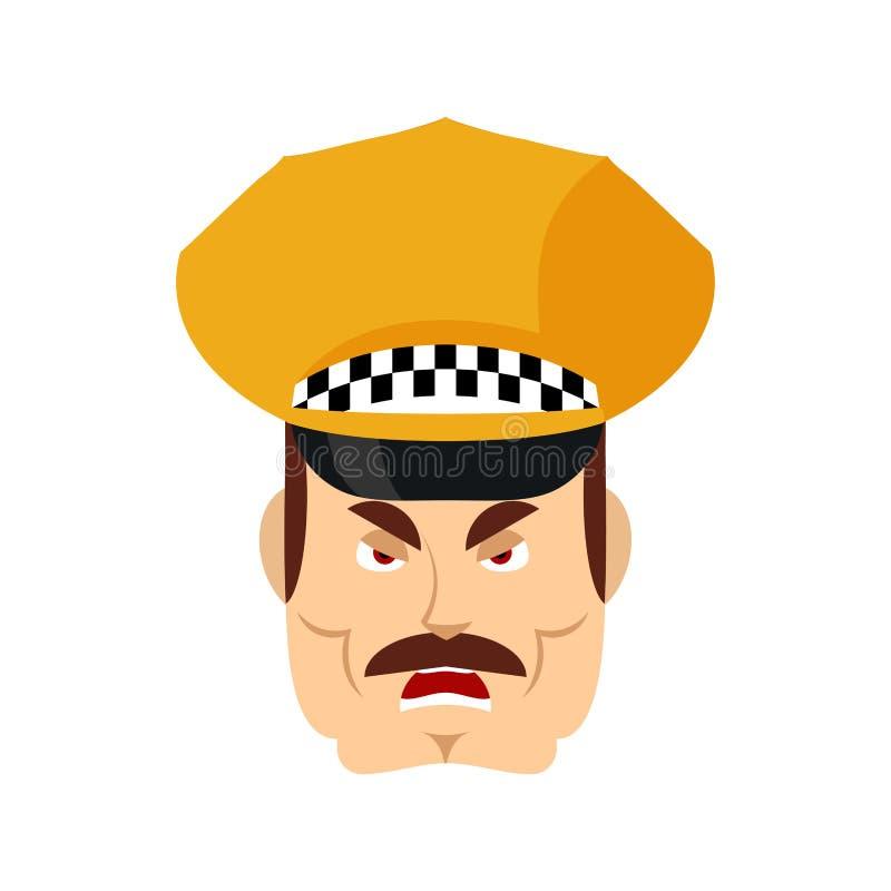 Emoji enojado del taxista Avatar malvado de las emociones del Cabbie Taxista agresivo Ilustraci?n del vector libre illustration