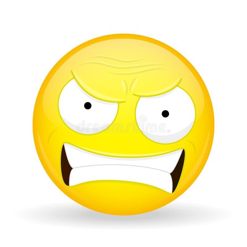 Emoji enojado Emoción de la cólera Emoticon que jura Estilo de la historieta Icono de la sonrisa del ejemplo del vector libre illustration