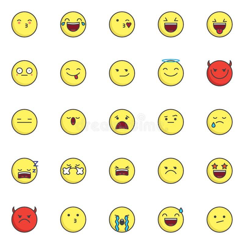 Emoji et smiley ont rempli icônes d'ensemble réglées illustration de vecteur