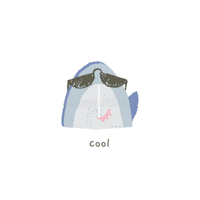Emoji exhausto de la mano del vector Sonrisa fresca linda del tiburón en gafas de sol con emociones ilustración del vector