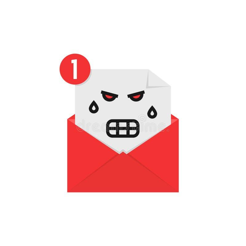 Emoji fâché dans l'avis de lettre illustration stock