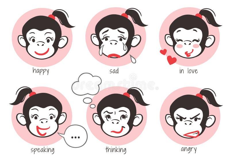 Emoji för apaflickaframsida stock illustrationer