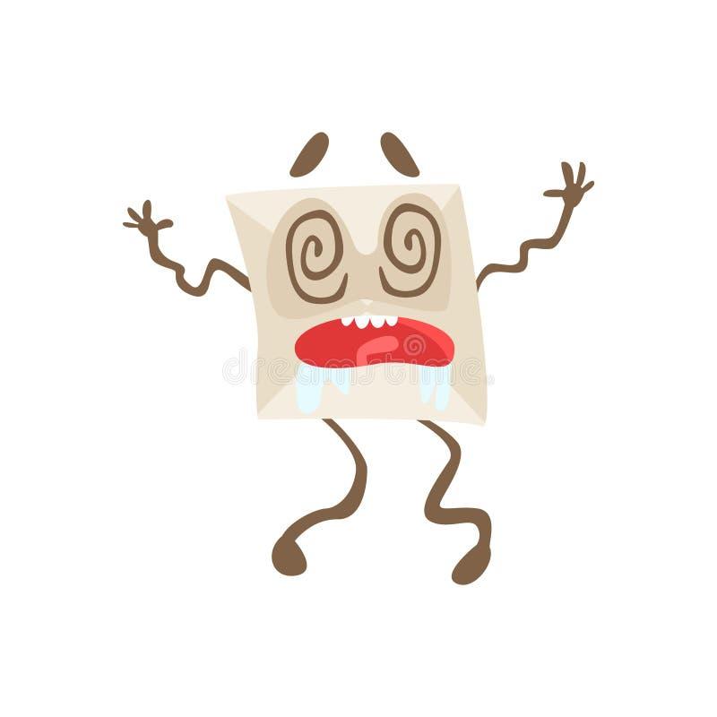 Emoji för Dizzy Humanized Letter Paper Envelop tecknad filmtecken illustration stock illustrationer