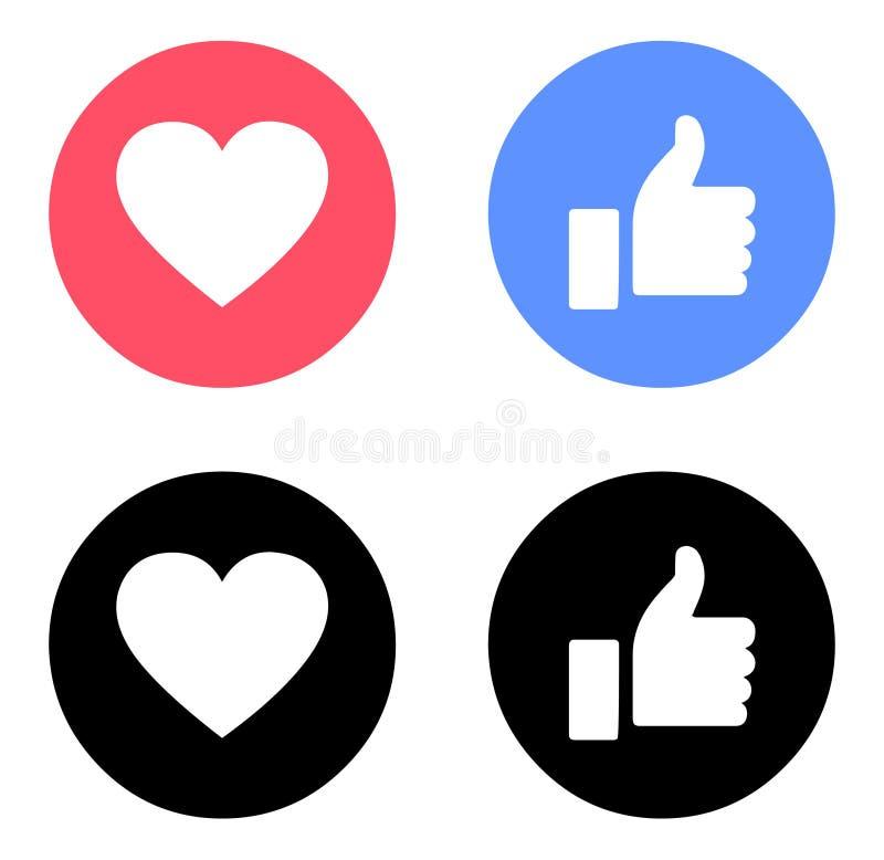 Emoji Facebook любит и любит цвет значков иллюстрация вектора