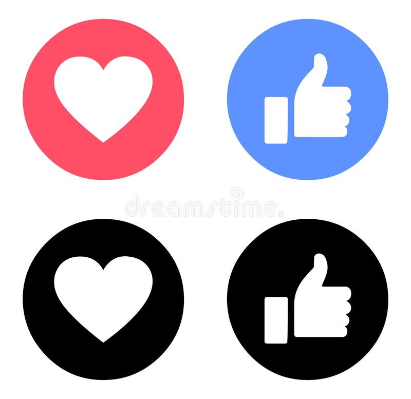 Emoji Facebook aiment et aiment la couleur d'icônes illustration de vecteur