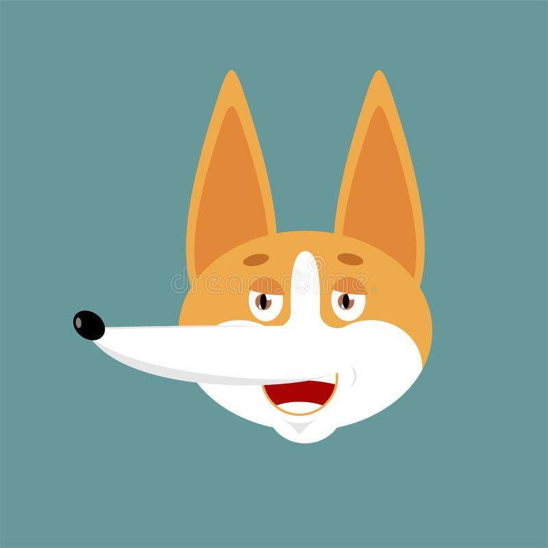 Emoji felice del Corgi Avatar allegro di emozioni del cane Animale domestico allegro Illustrazione di vettore illustrazione vettoriale