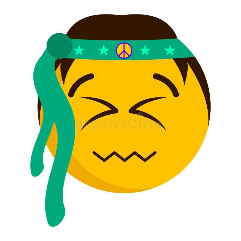 Emoji feliz con sus ojos cerrados ilustración del vector