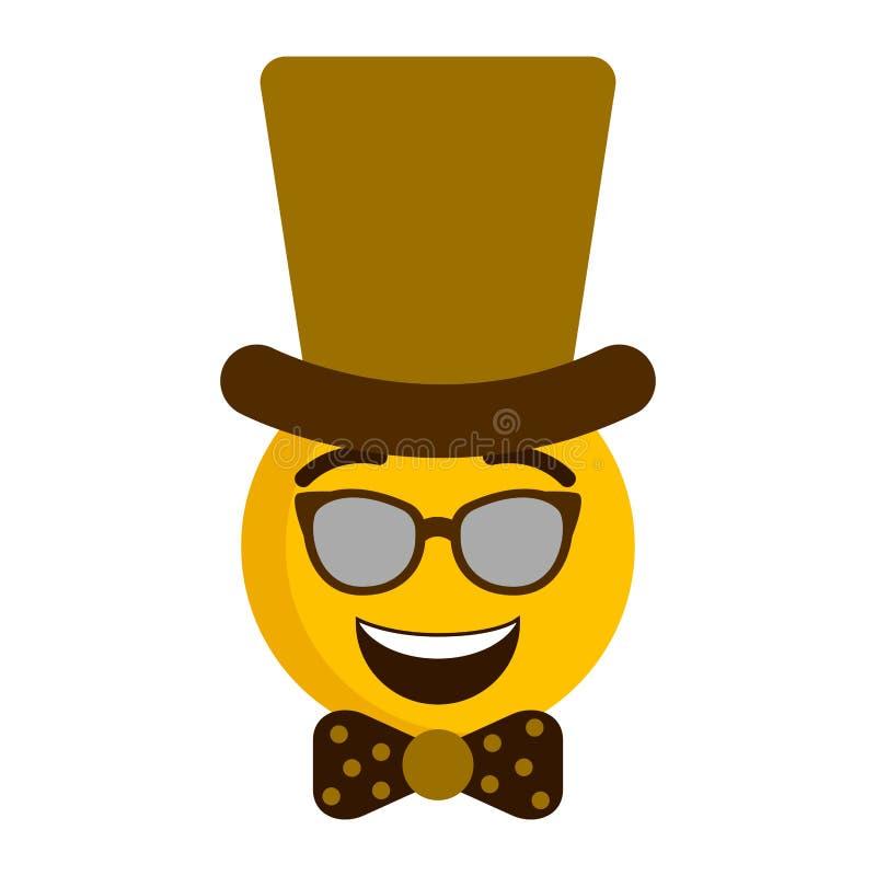 Emoji feliz con un sombrero del caballero stock de ilustración